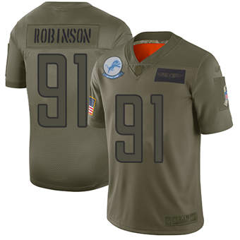 Youth Lions #91 A'Shawn Robinson Camo Stitched Football Limited 2019 Salute To Service Jersey
