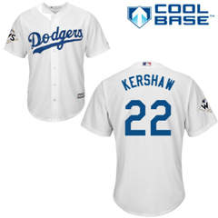 Youth Los Angeles Dodgers #22 Clayton Kershaw White Cool Base 2017 World Series Bound Stitched Youth Baseball Jersey