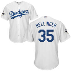 Youth Los Angeles Dodgers #35 Cody Bellinger White Cool Base 2017 World Series Bound Stitched Youth Baseball Jersey
