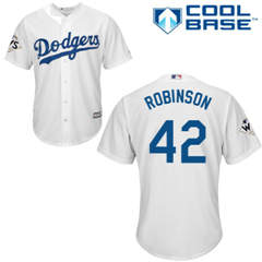 Youth Los Angeles Dodgers #42 Jackie Robinson White Cool Base 2017 World Series Bound Stitched Youth Baseball Jersey