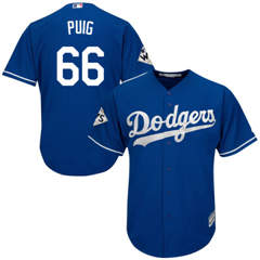 Youth Los Angeles Dodgers #66 Yasiel Puig Blue Cool Base 2017 World Series Bound Stitched Youth Baseball Jersey