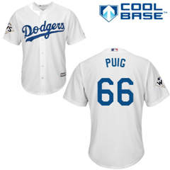 Youth Los Angeles Dodgers #66 Yasiel Puig White Cool Base 2017 World Series Bound Stitched Youth Baseball Jersey