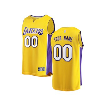 Youth Los Angeles Lakers Gold 2017-2018 Custom Basketball Jersey - Icon Edition