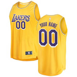 Youth Los Angeles Lakers Gold 2018-2019 Custom Basketball Jersey – Icon Edition