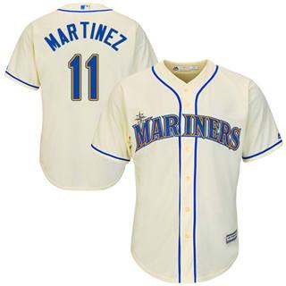 Youth Mariners #11 Edgar Martinez Cream Cool Base Stitched Baseball Jersey