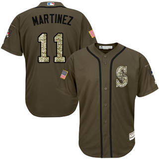Youth Mariners #11 Edgar Martinez Green Salute to Service Stitched Baseball Jersey
