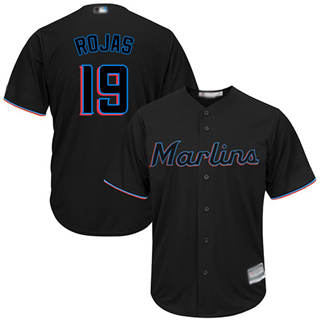 Youth Marlins #19 Miguel Rojas Black Cool Base Stitched Baseball Jersey