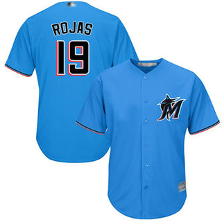 Youth Marlins #19 Miguel Rojas Blue Cool Base Stitched Baseball Jersey