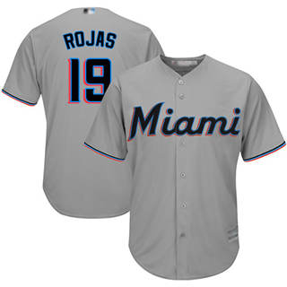 Youth Marlins #19 Miguel Rojas Grey Cool Base Stitched Baseball Jersey