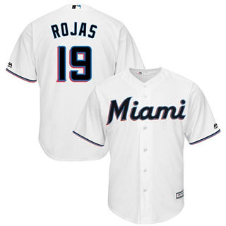 Youth Marlins #19 Miguel Rojas White Cool Base Stitched Baseball Jersey