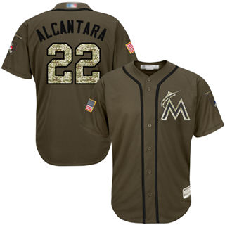Youth Marlins #22 Sandy Alcantara Green Salute to Service Stitched Baseball Jersey