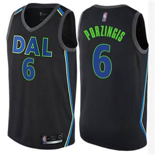Youth Mavericks #6 Kristaps Porzingis Black Basketball Swingman City Edition Jersey