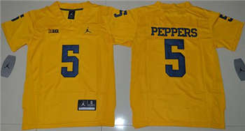 Youth Michigan Wolverines #5 Jabrill Peppers Gold Jordan Brand Stitched NCAA Jersey