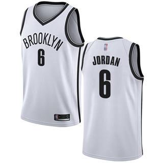 Youth Nets #6 DeAndre Jordan White Basketball Swingman Association Edition Jersey