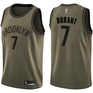 Youth Nets #7 Kevin Durant Green Salute to Service Basketball Swingman Jersey
