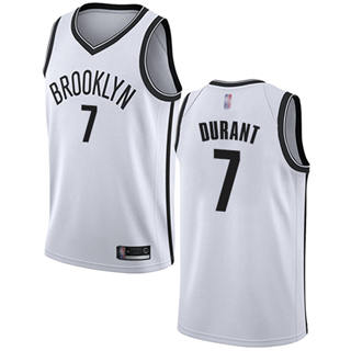 Youth Nets #7 Kevin Durant White Basketball Swingman Association Edition Jersey