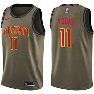 Youth  Atlanta Hawks #11 Trae Young Green Basketball Swingman Salute to Service Jersey