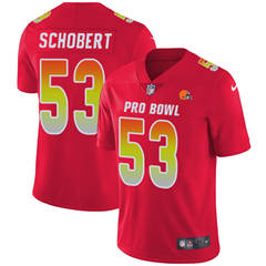 Youth  Cleveland Browns #53 Joe Schobert Red Stitched Football Limited AFC 2018 Pro Bowl Jersey