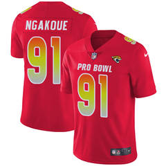Youth  Jacksonville Jaguars #91 Yannick Ngakoue Red Stitched Football Limited AFC 2018 Pro Bowl Jersey