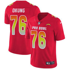 Youth  Los Angeles Chargers #76 Russell Okung Red Stitched Football Limited AFC 2018 Pro Bowl Jersey