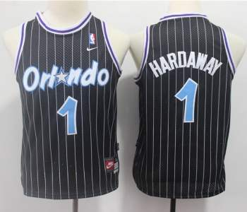 Youth  Orlando Magic #1 Penny Hardaway Black Strip Throwback Basketball Jersey