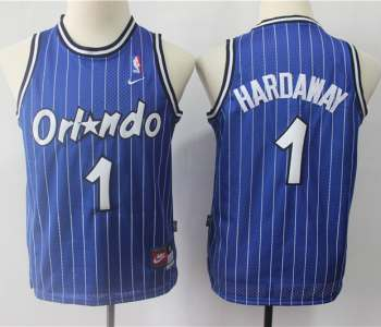 Youth  Orlando Magic #1 Penny Hardaway Blue Strip Throwback Basketball Jersey