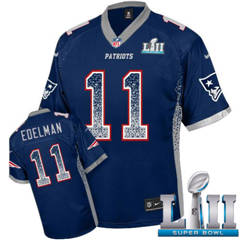 Youth  Patriots #11 Julian Edelman Navy Blue Team Color Super Bowl LII Stitched Football Elite Drift Fashion Jersey