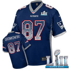 Youth  Patriots #87 Rob Gronkowski Navy Blue Team Color Super Bowl LII Stitched Football Elite Drift Fashion Jersey