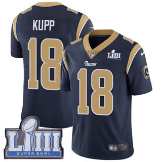 Youth  Rams #18 Cooper Kupp Navy Blue Team Color 2019 Super Bowl 53 LIII Bound Stitched Football Vapor Untouchable Limited Jersey