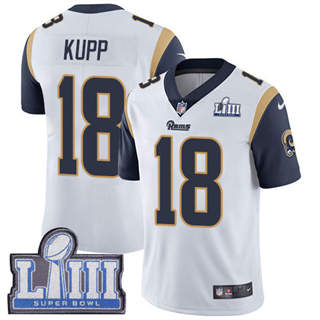 Youth  Rams #18 Cooper Kupp White 2019 Super Bowl 53 LIII Bound Stitched Football Vapor Untouchable Limited Jersey