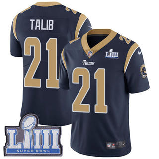 Youth  Rams #21 Aqib Talib Navy Blue Team Color 2019 Super Bowl 53 LIII Bound Stitched Football Vapor Untouchable Limited Jersey