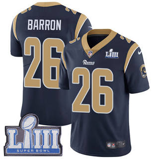 Youth  Rams #26 Mark Barron Navy Blue Team Color 2019 Super Bowl 53 LIII Bound Stitched Football Vapor Untouchable Limited Jersey