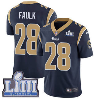 Youth  Rams #28 Marshall Faulk Navy Blue Team Color 2019 Super Bowl 53 LIII Bound Stitched Football Vapor Untouchable Limited Jersey