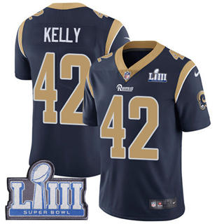 Youth  Rams #42 John Kelly Navy Blue Team Color 2019 Super Bowl 53 LIII Bound Stitched Football Vapor Untouchable Limited Jersey