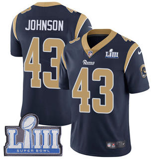 Youth  Rams #43 John Johnson Navy Blue Team Color 2019 Super Bowl 53 LIII Bound Stitched Football Vapor Untouchable Limited Jersey