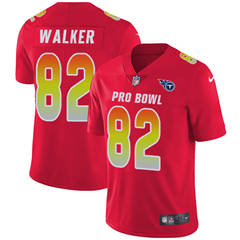 Youth  Tennessee Titans #82 Delanie Walker Red Stitched Football Limited AFC 2018 Pro Bowl Jersey