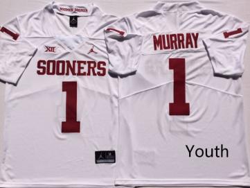 Youth Oklahoma Sooners #1 Kyler Murray White NCAA College Football Jersey