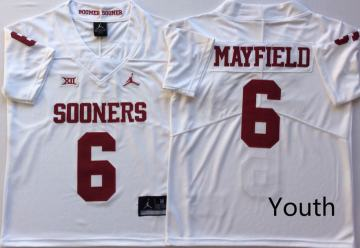 Youth Oklahoma Sooners #6 Baker Mayfield White NCAA College Football Jersey