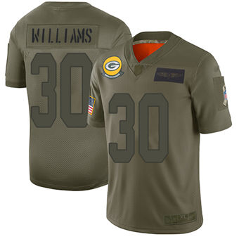 Youth Packers #30 Jamaal Williams Camo Stitched Football Limited 2019 Salute To Service Jersey
