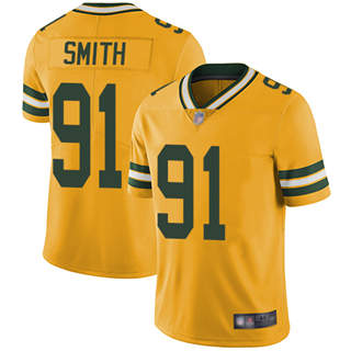 Youth Packers #91 Preston Smith Yellow Stitched Football Limited Rush Jersey