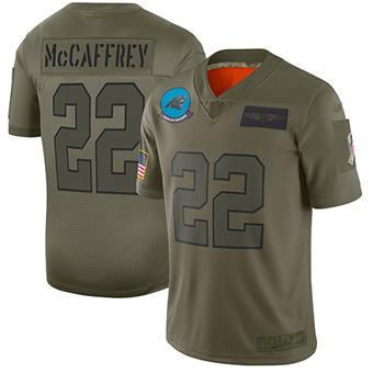 Youth Panthers #22 Christian McCaffrey Camo Stitched Football Limited 2019 Salute To Service Jersey
