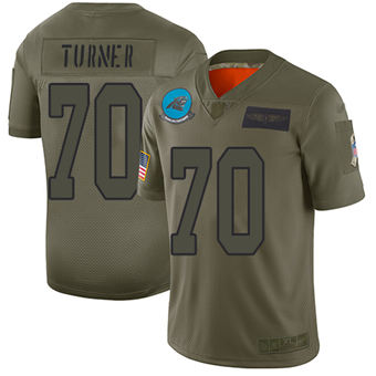 Youth Panthers #70 Trai Turner Camo Stitched Football Limited 2019 Salute To Service Jersey