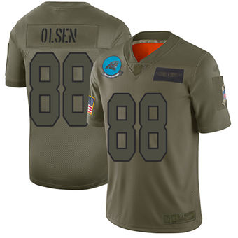 Youth Panthers #88 Greg Olsen Camo Stitched Football Limited 2019 Salute To Service Jersey