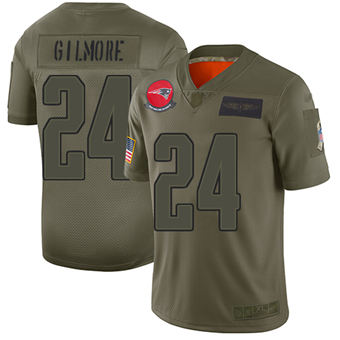 Youth Patriots #24 Stephon Gilmore Camo Stitched Football Limited 2019 Salute To Service Jersey