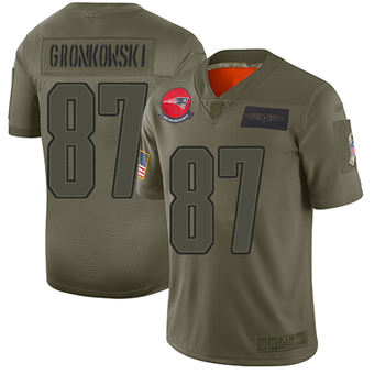 Youth Patriots #87 Rob Gronkowski Camo Stitched Football Limited 2019 Salute To Service Jersey