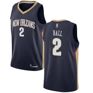 Youth Pelicans #2 Lonzo Ball Navy Basketball Swingman Icon Edition Jersey