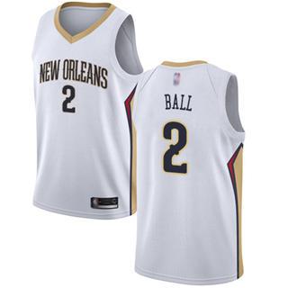 Youth Pelicans #2 Lonzo Ball White Basketball Swingman Association Edition Jersey