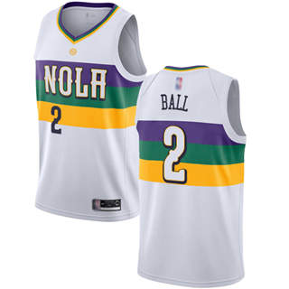 Youth Pelicans #2 Lonzo Ball White Basketball Swingman City Edition 2018-19 Jersey