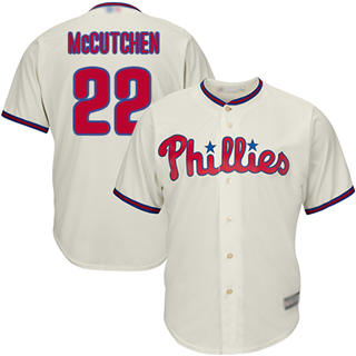 Youth Phillies #22 Andrew McCutchen Cream Cool Base Stitched Baseball Jersey