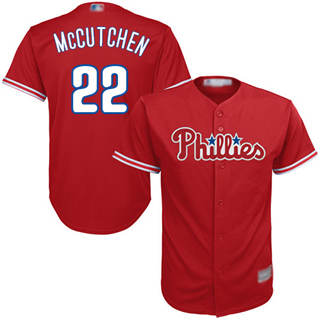 Youth Phillies #22 Andrew McCutchen Red Cool Base Stitched Baseball Jersey